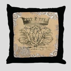 flourish swirls paris vintage crown Throw Pillow