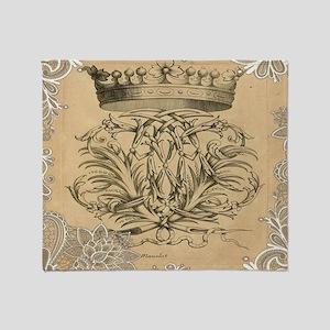 flourish swirls paris vintage crown Throw Blanket