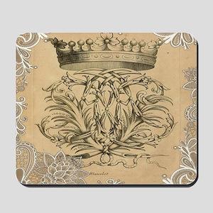 flourish swirls paris vintage crown Mousepad