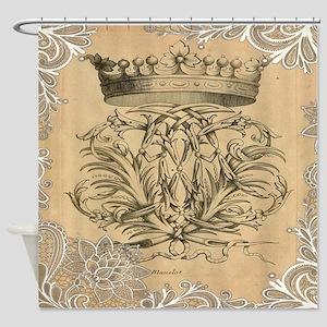 flourish swirls paris vintage crown Shower Curtain