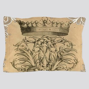 swirls paris vintage crown Pillow Case