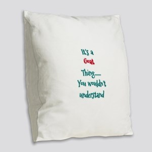 Goat Thing Burlap Throw Pillow