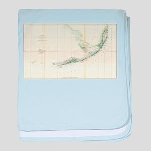 Vintage Map of The Florida Keys (1859 baby blanket