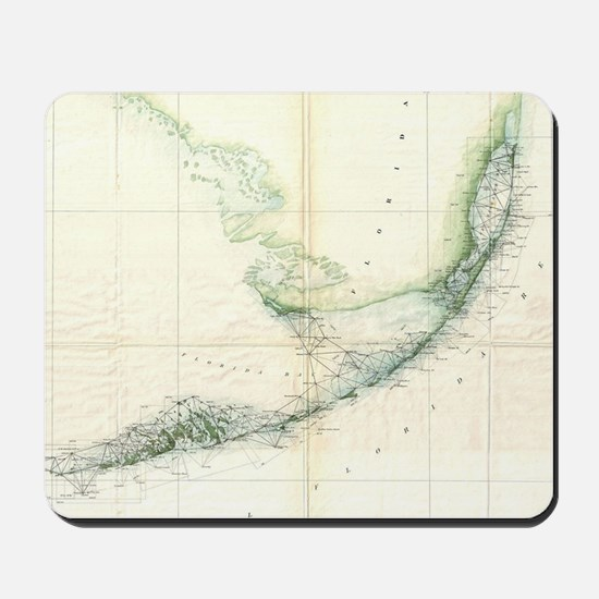 Vintage Map of The Florida Keys (1859) Mousepad