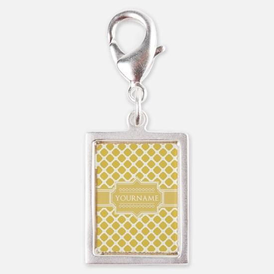 Yellow Quatrefoil Monogram Silver Portrait Charm