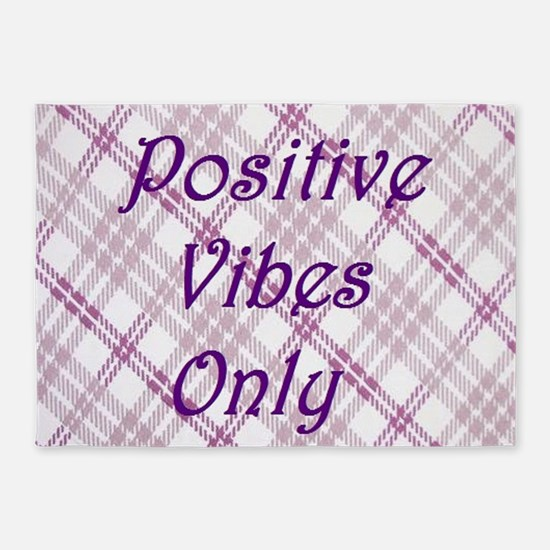 girly positive vibes only 5'x7'Area Rug