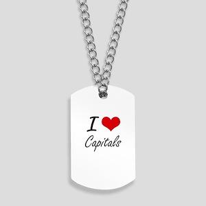 I love Capitals Artistic Design Dog Tags
