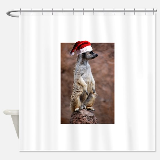 Christmas Meercat Shower Curtain