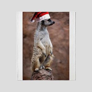 Christmas Meercat Throw Blanket