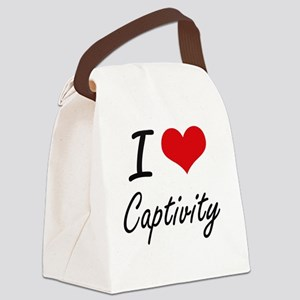 I love Captivity Artistic Design Canvas Lunch Bag