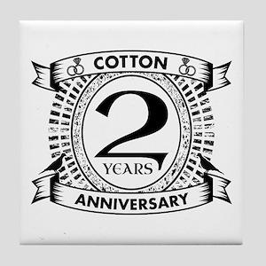 2nd cotton Wedding anniversary Tile Coaster