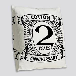 2nd cotton Wedding anniversary Burlap Throw Pillow