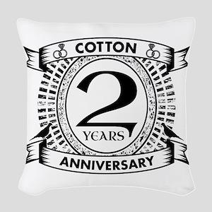 2nd cotton Wedding anniversary Woven Throw Pillow