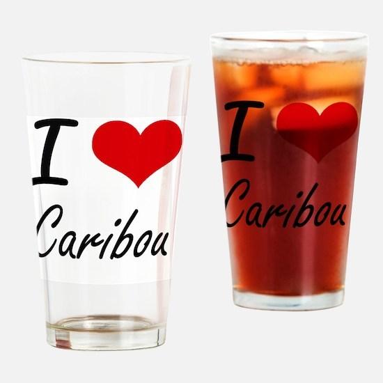 I love Caribou Artistic Design Drinking Glass