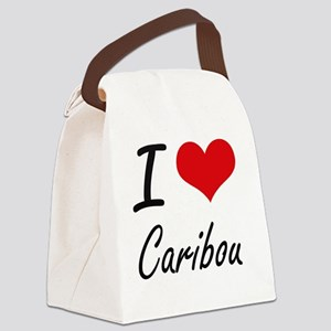 I love Caribou Artistic Design Canvas Lunch Bag