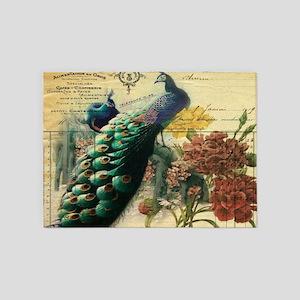 french botanical vintage peacock 5'x7'Area Rug