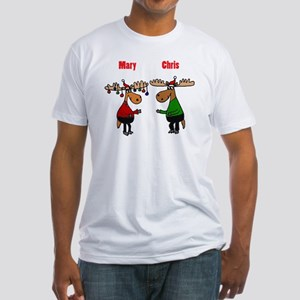 Funny Christmas Moose Fitted T-Shirt