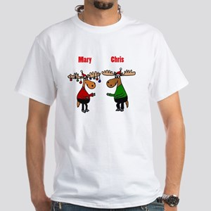 Funny Christmas Moose White T-Shirt