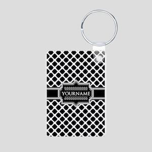 Personalized Quatrefoil in Aluminum Photo Keychain