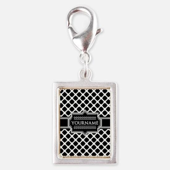Personalized Quatrefoil in B Silver Portrait Charm