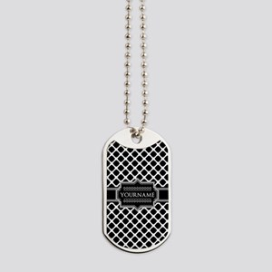 Personalized Quatrefoil in Black and Whit Dog Tags