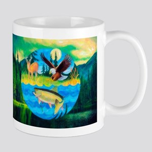 Deer, Eagle, Fish Mug Mugs