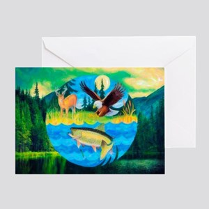 Deer, Eagle, Fish Card Greeting Cards