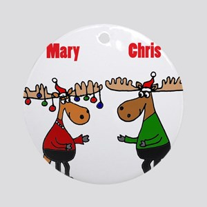 Funny Christmas Moose Round Ornament