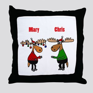 Funny Christmas Moose Throw Pillow