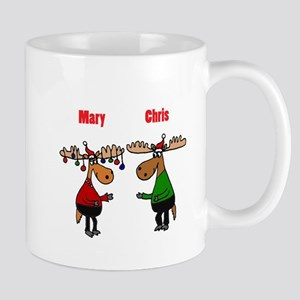 Funny Christmas Moose Mugs