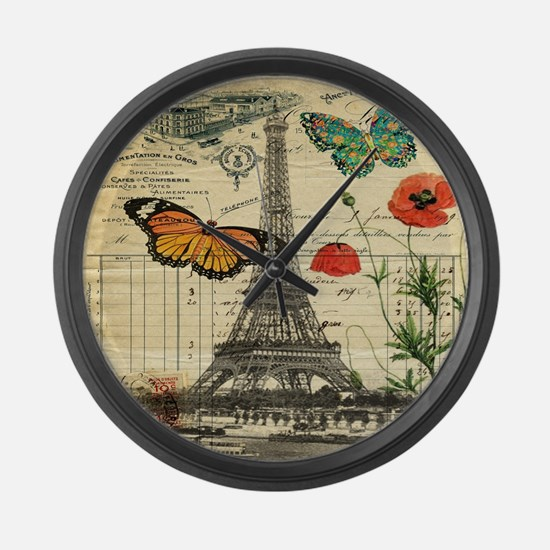 vintage paris eiffel tower Large Wall Clock