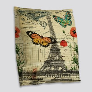 vintage paris eiffel tower Burlap Throw Pillow
