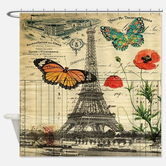 vintage paris eiffel tower Shower Curtain