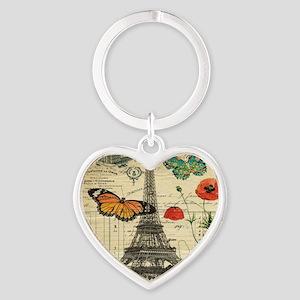 vintage paris eiffel tower Heart Keychain