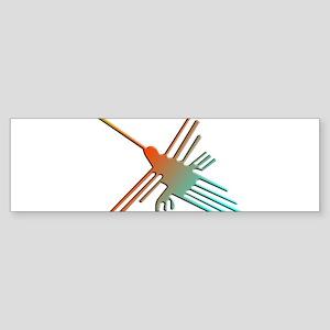 Colorful 3D Nazca Lines Hummingbird Bumper Sticker
