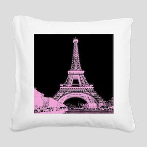 pink paris eiffel tower Square Canvas Pillow