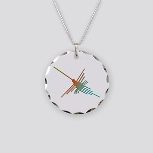 Colorful 3D Nazca Lines Humm Necklace Circle Charm
