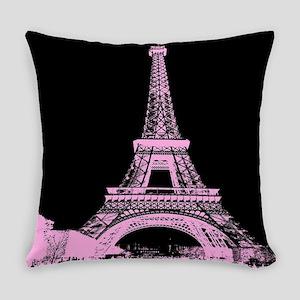 pink paris eiffel tower Everyday Pillow