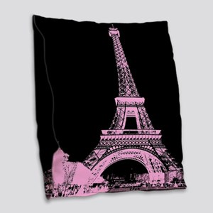pink paris eiffel tower Burlap Throw Pillow