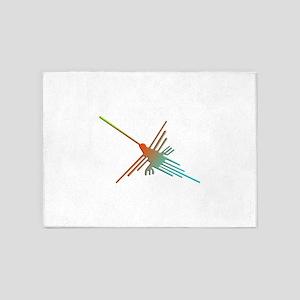 Colorful 3D Nazca Lines Hummingbird 5'x7'Area Rug