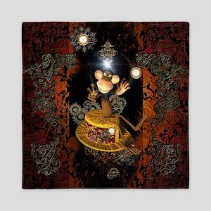 Steampunk, funny monkey Queen Duvet