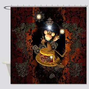 Steampunk, funny monkey Shower Curtain
