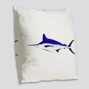 Striped Marlin v2 Burlap Throw Pillow