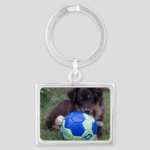 Australian Shepherd Pup Landscape Keychain