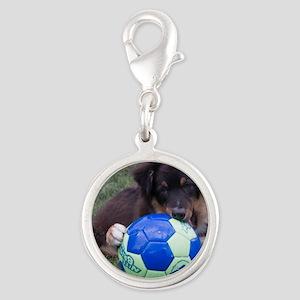 Australian Shepherd Pup Silver Round Charm