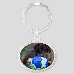 Australian Shepherd Pup Oval Keychain