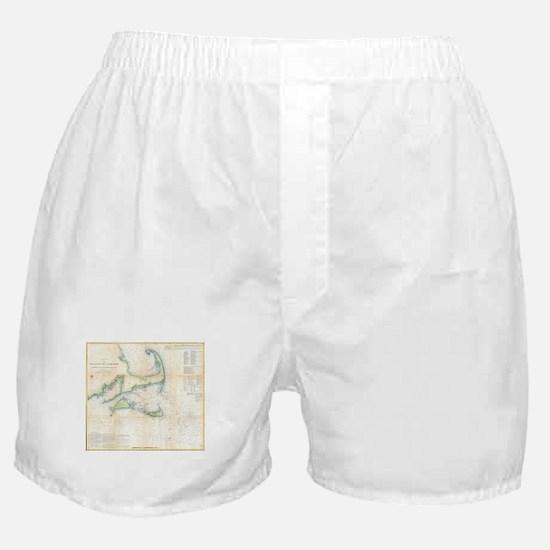 Vintage Map of Cape Cod (1857) Boxer Shorts