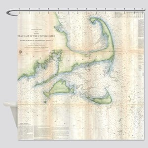Vintage Map of Cape Cod (1857) Shower Curtain