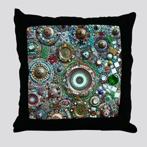 Colorful Crystal Mosaic Geometric Des Throw Pillow
