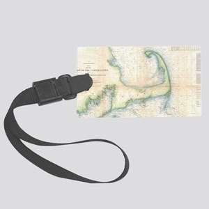 Vintage Map of Cape Cod (1857) Large Luggage Tag